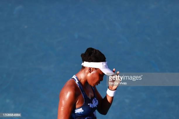 Venus Williams of USA gestures during the singles match between Kaja Juvan of Slovenia and Venus Williams of USA as part of the WTA Mexican Open 2020...