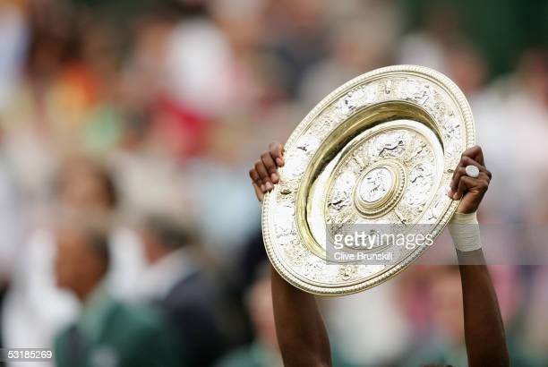 Venus Williams of USA holds the trophy after Williams won in three sets against Lindsay Davenport of USA during the Ladies Final on twelfth day of...