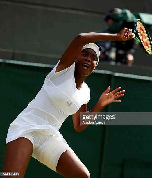 Venus Williams of USA in action against Darya Kasatkina of Russia on day five of the 2016 Wimbledon Championships at the All England Lawn and Croquet...