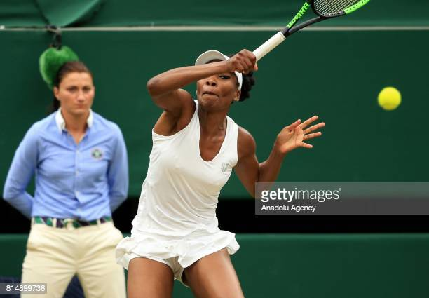 Venus Williams of USA in action against Garbine Muguruza of Spain during the Women's Final of the 2017 Wimbledon Championships at the All England...