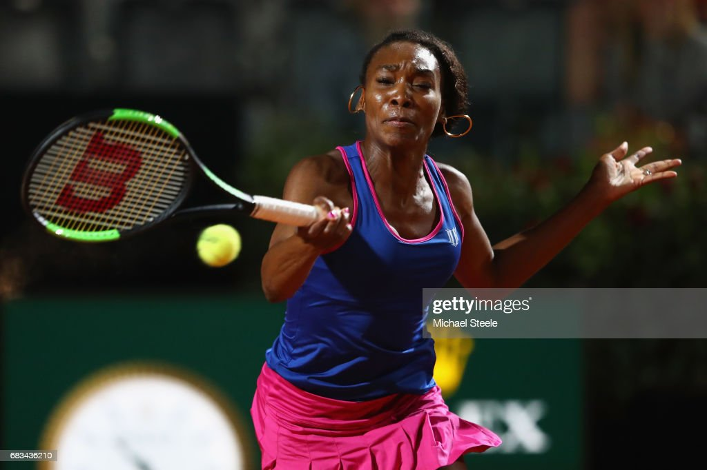 Venus Williams of USA in action during her forst round match againt Yaroslava Shvedova of Kazakhstan on Day Two of The Internazionali BNL d'Italia 2017 at the Foro Italico on May 15, 2017 in Rome, Italy.