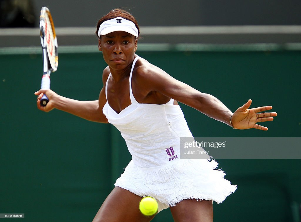 Venus Williams of USA in action during her Quarter Final match against Tsvetana Pironkova of Bulgaria on Day Eight of the Wimbledon Lawn Tennis Championships at the All England Lawn Tennis and Croquet Club on June 29, 2010 in London, England.