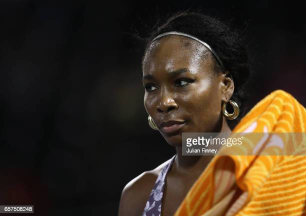 Venus Williams of USA looks on against Beatriz Haddad Maia of Brazil at Crandon Park Tennis Center on March 24 2017 in Key Biscayne Florida