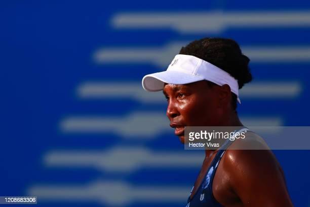 Venus Williams of USA looks on during the singles match between Kaja Juvan of Slovenia and Venus Williams of USA as part of the WTA Mexican Open 2020...