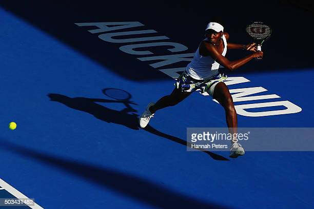 Venus Williams of USA plays a backhand during her first round match against Daria Kasatkina of Russia during day two of the 2016 ASB Classic at the...