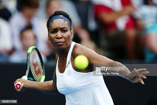 Venus Williams of USA plays a forehand in her match against Jade Lewis of New Zealand on day two of the ASB Classic on January 3 2017 in Auckland New...