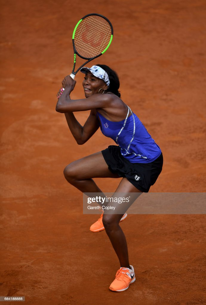 Venus Williams of USA plays a shot during her second round match against Lesia Tsurenko of the Ukraine in The Internazionali BNL d'Italia 2017 at Foro Italico on May 17, 2017 in Rome, Italy.