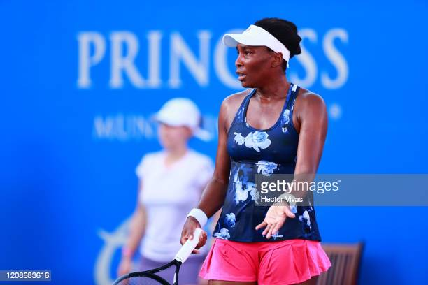 Venus Williams of USA reacts during the singles match between Kaja Juvan of Slovenia and Venus Williams of USA as part of the WTA Mexican Open 2020...