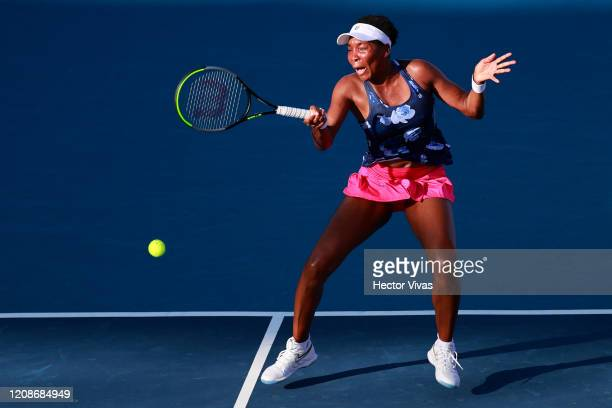Venus Williams of USA returns a ball during the singles match between Kaja Juvan of Slovenia and Venus Williams of USA as part of the WTA Mexican...