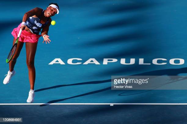 Venus Williams of USA serves during the singles match between Kaja Juvan of Slovenia and Venus Williams of USA as part of the WTA Mexican Open 2020...