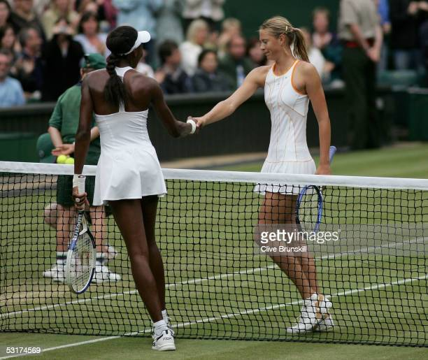 Venus Williams of USA shakes hands with Maria Sharapova of Russia after Williams won in straight sets against during the tenth day of the Wimbledon...