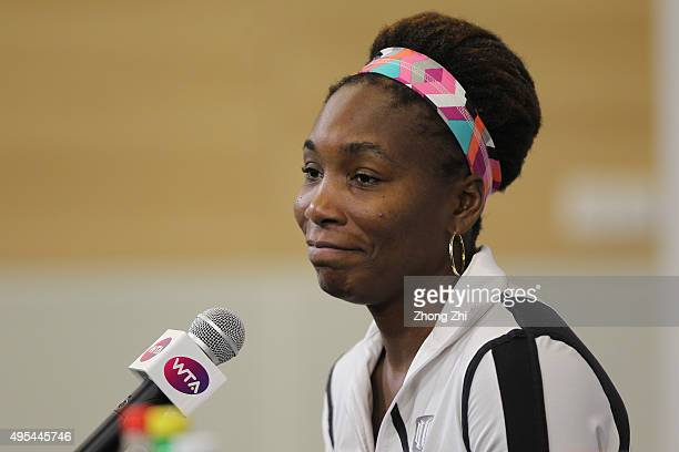 Venus Williams of USA speaks to media after winning the match against Madison Keys of USA on day 2 of Huajin Securities WTA Elite Trophy Zhuhai at...