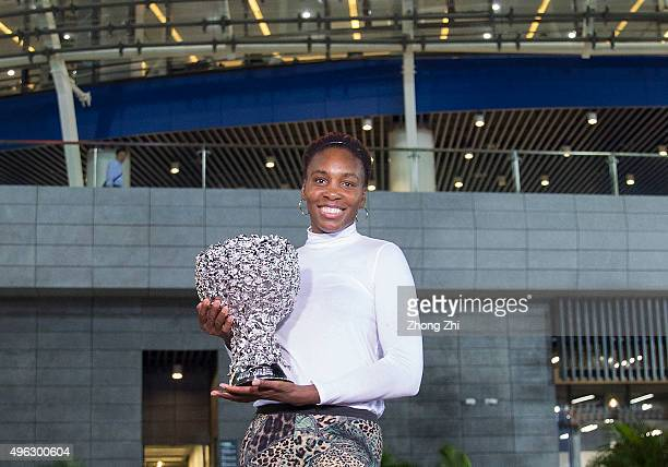 Venus Williams of USA with her trophy outside the stadium after winning the final match against Karolina Pliskova of Czech Republic on day 7 of...