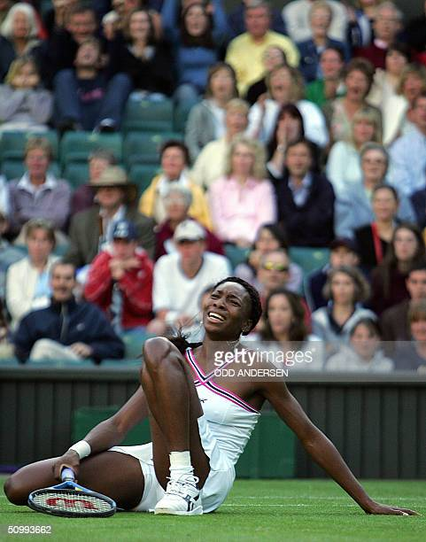 Venus Williams reacts to losing a point to Karolina Sprem of Croatia during the 118th Wimbledon Tennis Championships in Wimbledon, London 24 June,...