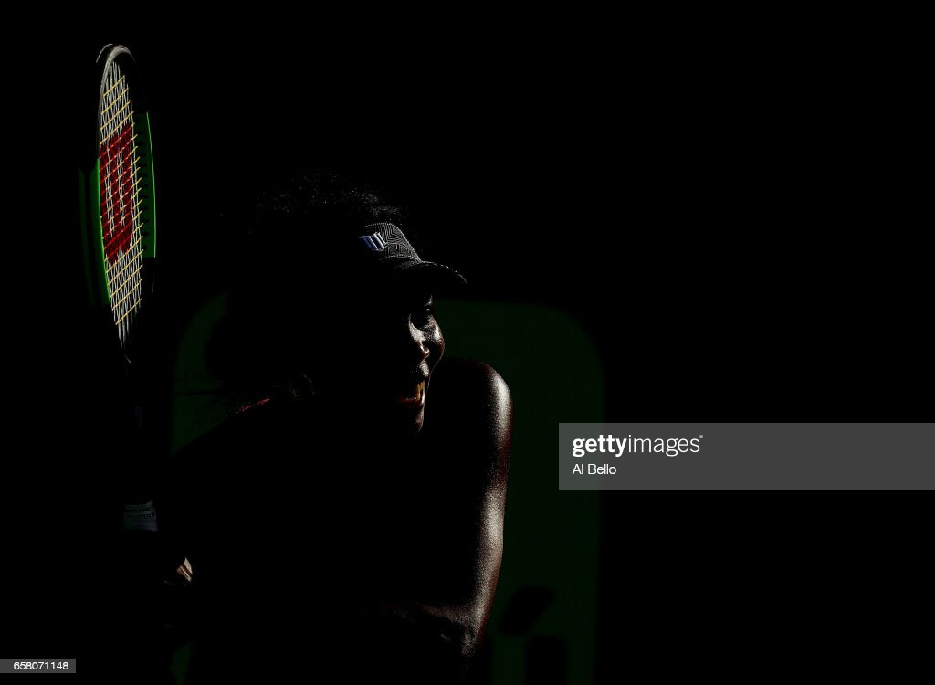 Venus Williams returns a shot against Patricia Maria Tig of Romania during Day 7 of the Miami Open at Crandon Park Tennis Center on March 26, 2017 in Key Biscayne, Florida.