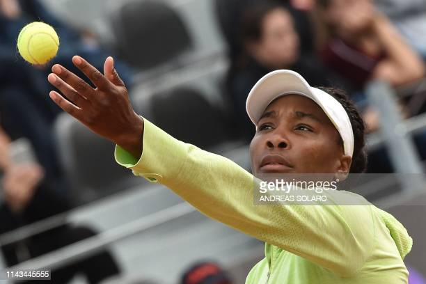 Venus Williams serves the ball to Belgium's Elise Mertens during their WTA Masters tournament tennis match at the Foro Italico in Rome, on May 13,...