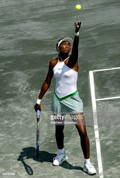 Venus Williams serves to Vera Zvonareva of Russia during the Family Circle Cup April 16 at the Family Circle Cup Tennis Center in Charleston South...
