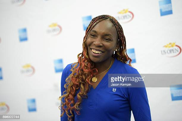 Venus Williams visits fans on the American Express Fan Court at The 2016 US Open at USTA Billie Jean King National Tennis Center on August 30 2016 in...