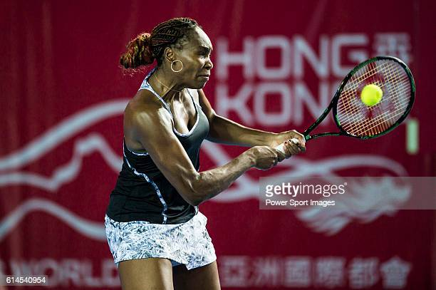 Venus Willians of USA in action against Alize Cornet of France during their Singles Round 2 match at the WTA Prudential Hong Kong Open at the...