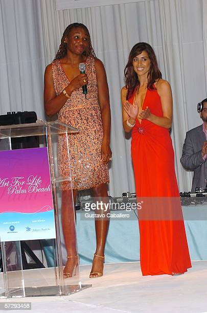 Venus Willimans and Shamin Abas on stage during the Art For Life Palm Beach Gala to benefit the Rush Arts Foundation at MarALago on April 8 2006 in...
