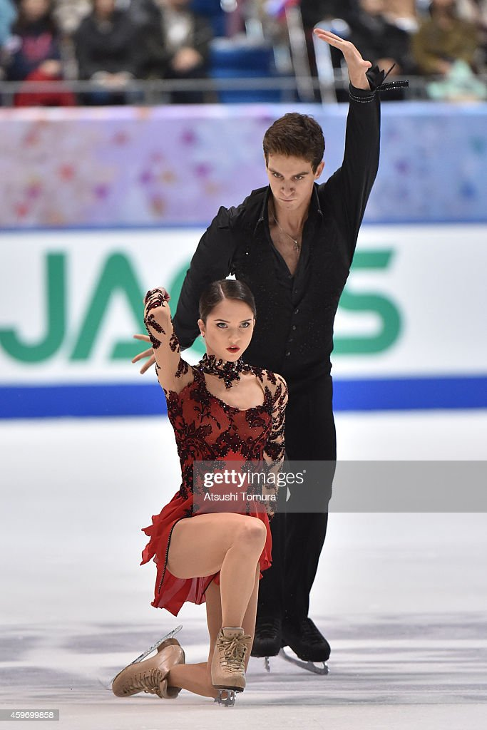 Vera Bazarova and Andrei Deputat of Russia compete in the Pairs Free Skating Yuko Kav during day two of ISU Grand Prix of Figure Skating 2014/2015 NHK Trophy at the Namihaya Dome on November 29, 2014 in Osaka, Japan.