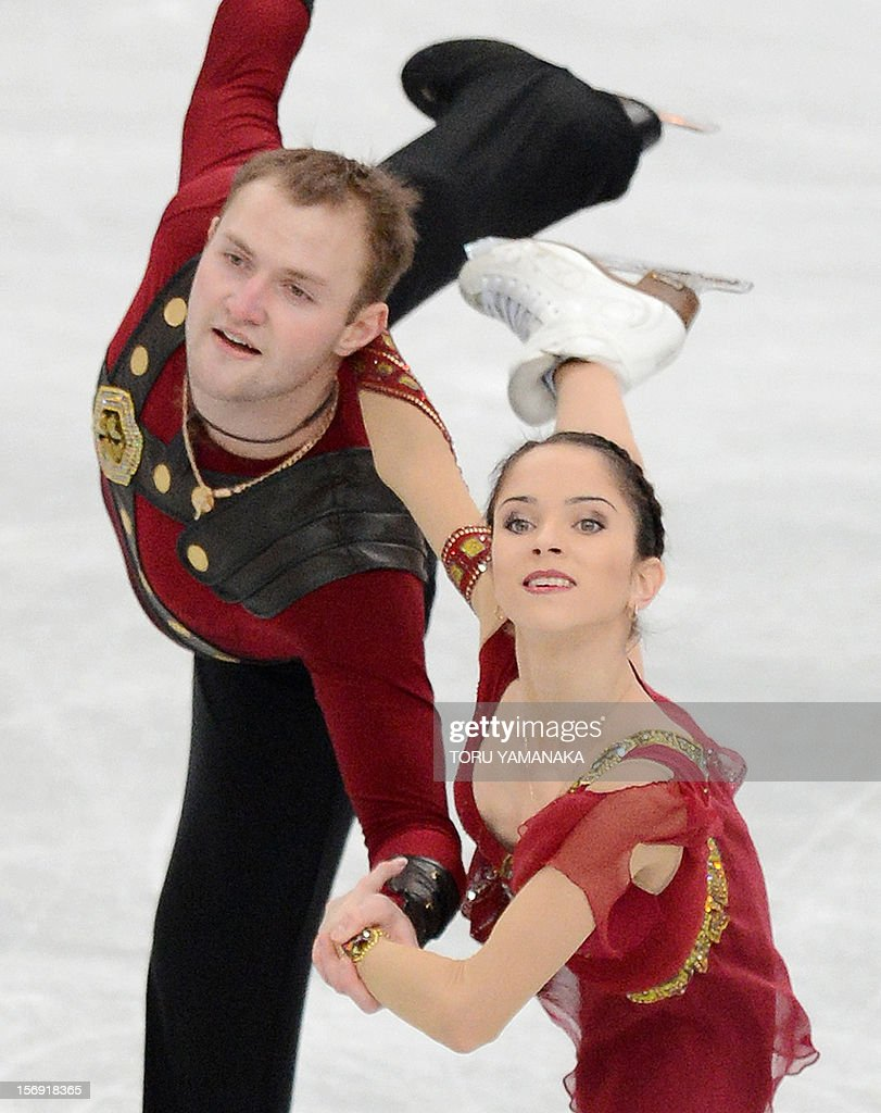 Vera Bazarova (R) and Yuri Larionov (L) of Russia perform during pairs free skating event at the NHK Trophy, the last leg of the six-stage ISU figure skating Grand Prix series, in Rifu, northern Japan, on November 25, 2012. The Russian pair won the gold medal in the competition. AFP PHOTO/Toru YAMANAKA