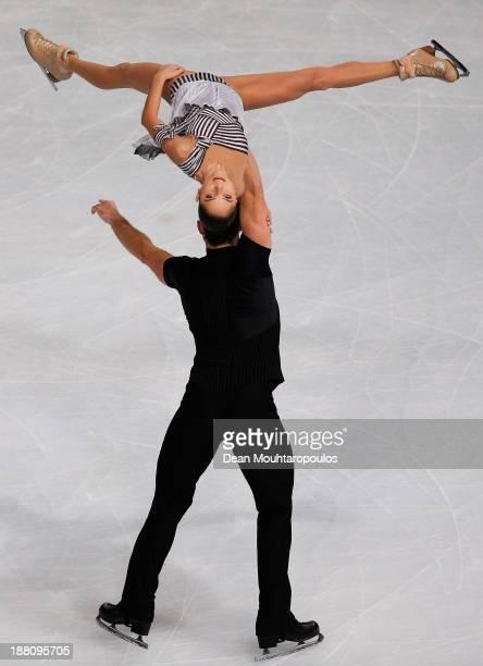 Vera Bazarova and Yuri Larionov of Russia perform in the Paris Short Program during day one of Trophee Eric Bompard ISU Grand Prix of Figure Skating...