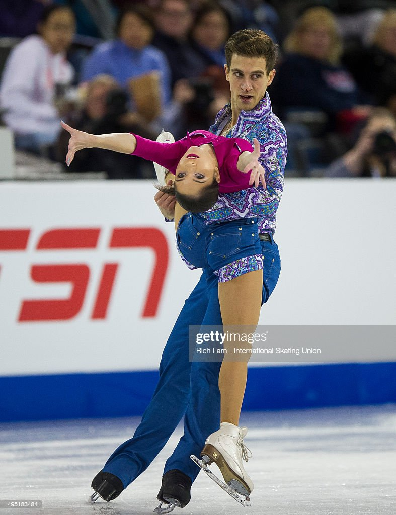 Vera Bazarova of Russia skates with her partner Andrei Deputat during the Pairs Free Skate on day two of Skate Canada International ISU Grand Prix of Figure Skating, October, 31, 2015 at ENMAX Centre in Lethbridge, Alberta, Canada.
