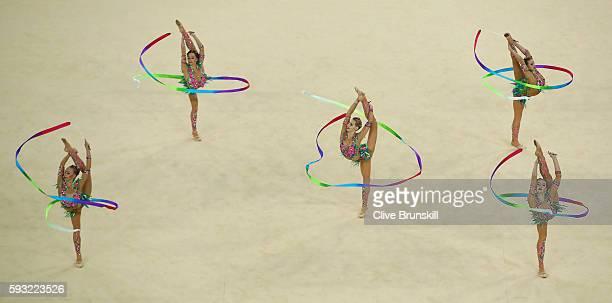 Vera Biriukova Anastasia Bliznyuk Anastasiia Maksimova Anastasiia Tatareva and Maria Tolkacheva of Russia compete during the Group AllAround Final on...