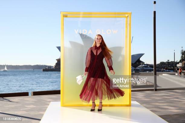Vera Blue attends the Vide Glow global launch at Sydney Harbour on May 17, 2021 in Sydney, Australia.