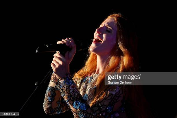 Vera Blue performs on the Australian Open Live Stage during day one of the 2018 Australian Open at Melbourne Park on January 15 2018 in Melbourne...