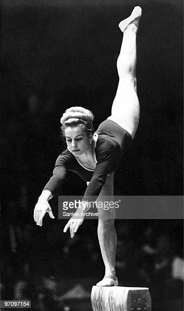 Vera Caslavska of Czech Slovakia competes in the Pallarel Beam during the Tokyo Olympic at Tokyo Metropolitan Gymnasium in October 1964 in Tokyo Japan