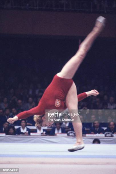 Vera Caslavska of Czechoslovakia competes in the Floor of the Women's Artistic Gymnastics Individual AllAround during the Tokyo Olympics at Tokyo...