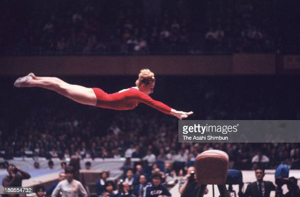 Vera Caslavska of Czechoslovakia competes in the Horse Vault of the Women's Artistic Gymnastics Individual AllAround during the Tokyo Olympics at...