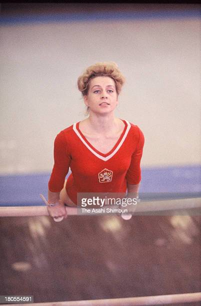 Vera Caslavska of Czechoslovakia during a training session during the Tokyo Olympics at Tokyo Metropolitan Gymnasium on October 18 1964 in Tokyo Japan