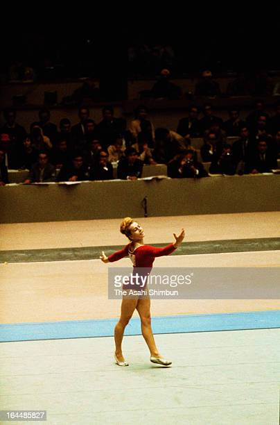 Vera Caslavska of Czechoslovakia performs in the Artistic Gymnasitics Women's Individual AllAround during Tokyo Olympic at Tokyo Metropolitan...