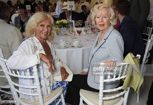 Vera Day and Peggy Cummins attend the Flannels for Heroes charity cricket match and garden party hosted by menswear brand Dockers at Burtons Court on...
