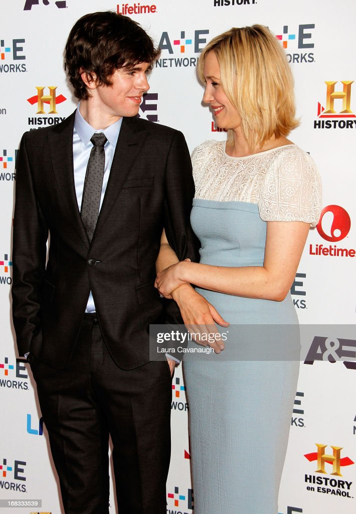 Vera Farmiga and Freddie Highmore attend A&E Networks 2013 Upfront at Lincoln Center on May 8, 2013 in New York City.