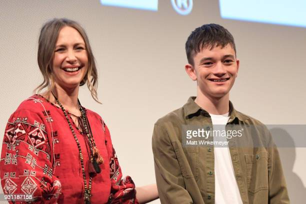 Vera Farmiga and Lewis MacDougall attend the 'Boundaries' Premiere 2018 SXSW Conference and Festivals at Paramount Theatre on March 12 2018 in Austin...