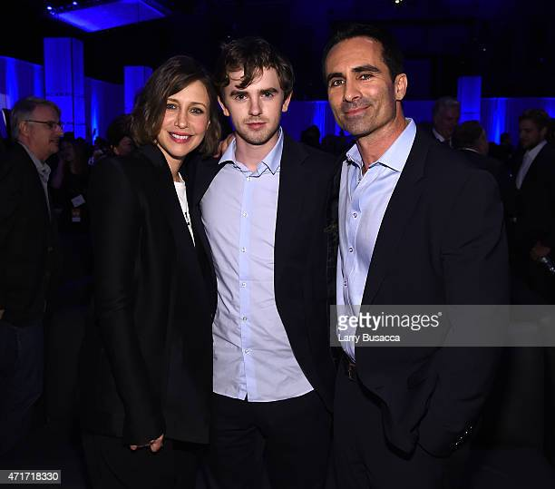 Vera Farmiga Freddie Highmore and Nestor Carbonell attend the 2015 AE Networks Upfront on April 30 2015 in New York City