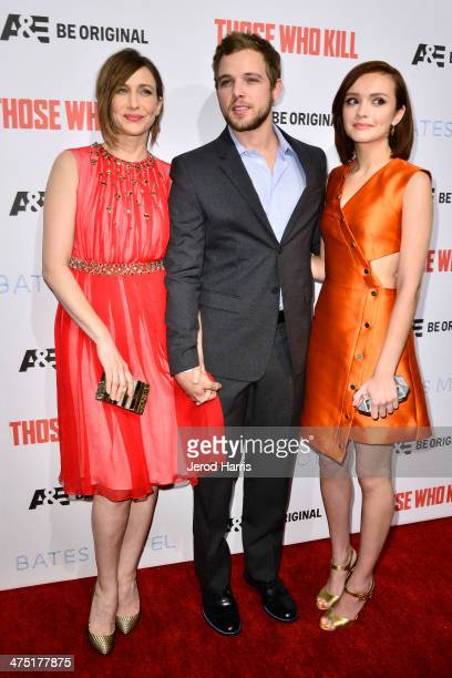Vera Farmiga Max Thieriot and Olivia Cooke attend the premiere party for AE's Season 2 Of 'Bates Motel' series premiere of 'Those Who Kill' at...