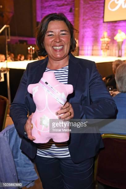 Vera IntVeen poses with her award during the plus size model award show 'Fraeulein Kurvig' at Kunstwerk Moechengladbach on September 1 2018 in...