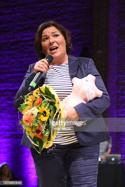 Vera IntVeen receives her award during the plus size model award show 'Fraeulein Kurvig' at Kunstwerk Moechengladbach on September 1 2018 in...