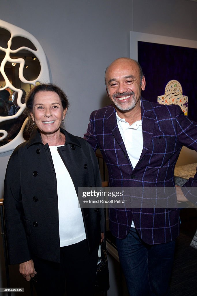 Vera Santo Domingo and Christian Louboutin attend the 'Paintings Poems from Tahar Ben Jelloun - Furniture Scriptures from C.Saccomanno & O.Dayot' : Press Preview at Galerie du Passage on September 15, 2015 in Paris, France