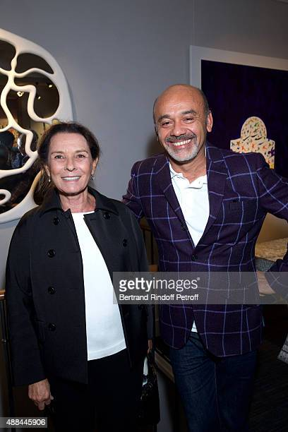Vera Santo Domingo and Christian Louboutin attend the 'Paintings Poems from Tahar Ben Jelloun Furniture Scriptures from CSaccomanno ODayot' Press...