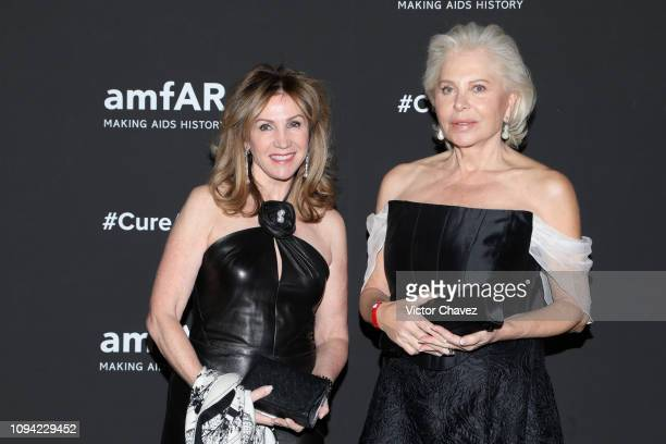 Vera Serrano and Eva O'Nell pose during the amfAR gala dinner at the house of collector and museum patron Eugenio López on February 5 2019 in Mexico...