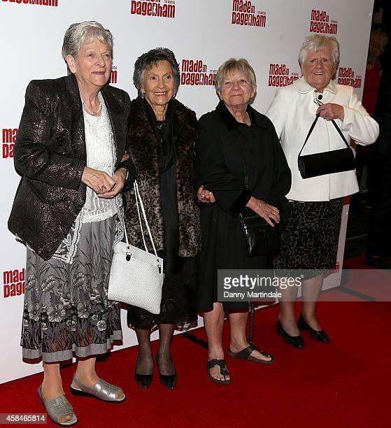 Vera Sime Sheila Douglass Eileen Pullen and Gwen Davis some of the original 'Dagenham Girls' attend the Made In Dagenham press night at Adelphi...