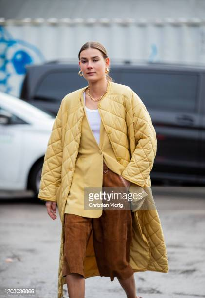 Vera van Erp seen weairng beige coat brown wild leather cropped pants blazer outside Rodebjer during Copenhagen Fashion Week Autumn/Winter 2020 Day 3...