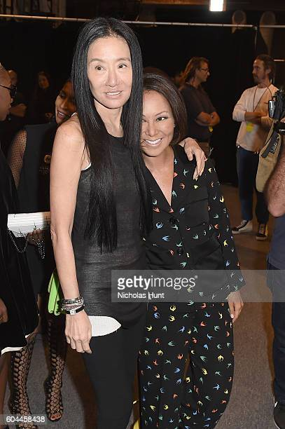 Vera Wang and Alina Cho pose backstage at the Vera Wang Collection fashion Show during New York Fashion Week The Shows at The Arc Skylight at...