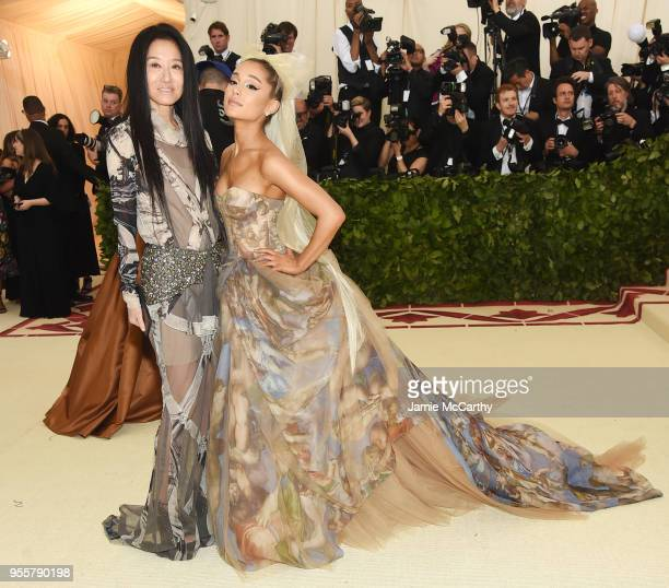 Vera Wang and Ariana Grande attend the Heavenly Bodies Fashion The Catholic Imagination Costume Institute Gala at The Metropolitan Museum of Art on...